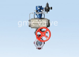 PTFE PFA lined butterfly valve with pneumatic actuator