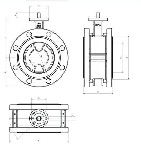 Short Double Flange Fully Lined Butterfly Valve supplier