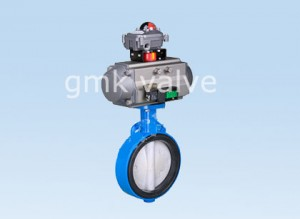 Rubber lined butterfly valve with pneumatic actuator