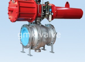 Cast steel trunnion mounted ball valve with pneumatic actuator