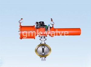 Triple Offset Butterfly Bhalbhaichean le Scotch cuing Type Pneumatic Actuator