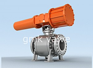 Trunnion muin Ball Bhalbhaichean le Scotch cuing Type Pneumatic Actuator