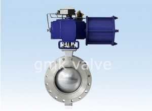V type ball valve with pneumatic actuator