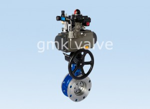 Triple eccentric butterfly valve with pneuamtic actuator