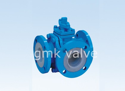 PTFE fodrade Three Way Ball Valve